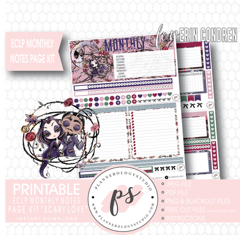 Scary Love (Valentine's Day) Monthly Notes Page Kit Digital Printable Planner Stickers (for use with Erin Condren) - Plannerologystudio