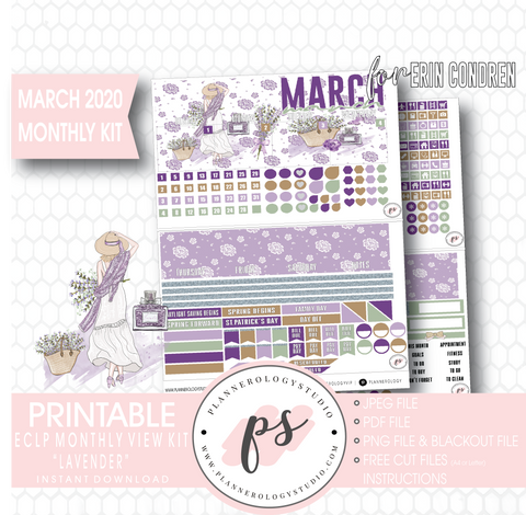 Lavender March 2020 Monthly View Kit Digital Printable Planner Stickers (for use with Erin Condren) - Plannerologystudio