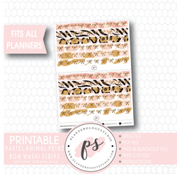 Pastel Animal Print Pattern Bow Icon Washi Strip Digital Printable Planner Stickers - Plannerologystudio