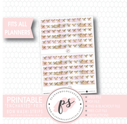 Enchanted Print Pattern Bow Icon Washi Strip Digital Printable Planner Stickers - Plannerologystudio