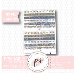 Ice Queen Print Pattern Bow Icon Washi Strip Digital Printable Planner Stickers - Plannerologystudio