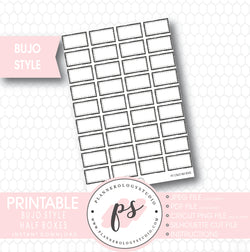 Bullet Journal Bujo Half Boxes Printable Planner Stickers - Plannerologystudio