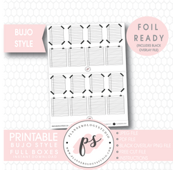 Bujo Bullet Journal Style Full Boxes Digital Printable Planner Stickers (Foil Ready)