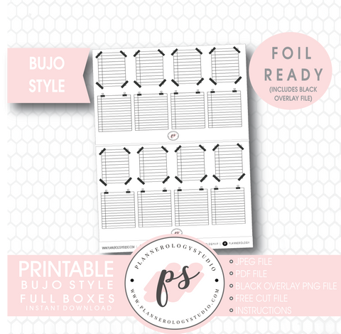 Bujo Bullet Journal Style Full Boxes Digital Printable Planner Stickers (Foil Ready) - Plannerologystudio