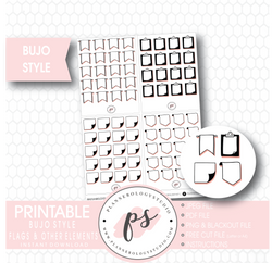 Bujo Bullet Journal Style Flags Digital Printable Planner Stickers (Foil Ready) - Plannerologystudio