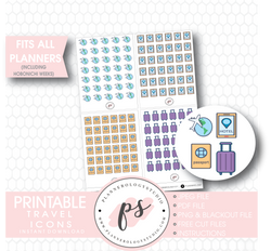 Travel Icons Digital Printable Planner Stickers Digital Printable Planner Stickers - Plannerologystudio