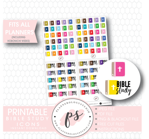 Bible & Bible Study Icons Digital Printable Planner Stickers Digital Printable Planner Stickers - Plannerologystudio