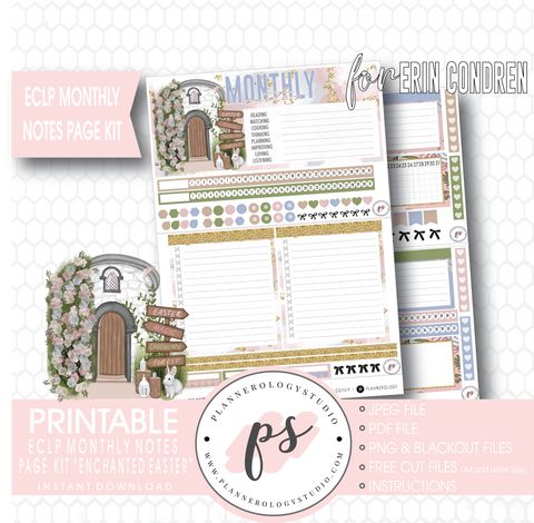 Enchanted Easter Monthly Notes Page Kit Digital Printable Planner Stickers (for use with ECLP) - Plannerologystudio