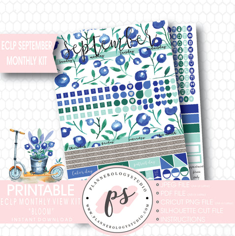 """Bloom"" September 2017 Monthly View Kit Printable Planner Stickers (for use with ECLP) - Plannerologystudio"