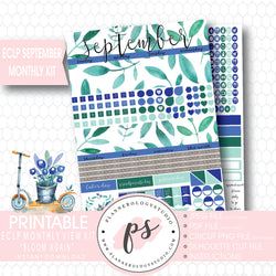 """Bloom Again"" September 2017 Monthly View Kit Printable Planner Stickers (for use with ECLP) - Plannerologystudio"