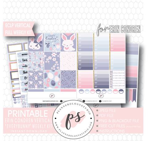 Everbunny (Easter) Weekly Kit Printable Planner Digital Stickers (for use with Erin Condren Vertical - Plannerologystudio