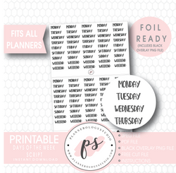 Days of the Week (Monday to Friday and Weekend) Bujo Script Digital Printable Planner Stickers (Foil Ready) - Plannerologystudio