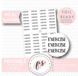 Exercise Bujo Script Digital Printable Planner Stickers (Foil Ready) - Plannerologystudio