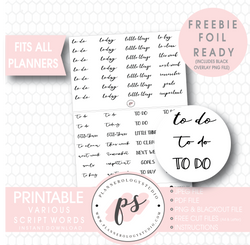 Various Bujo Script Words Digital Printable Planner Stickers (Freebie) - Plannerologystudio