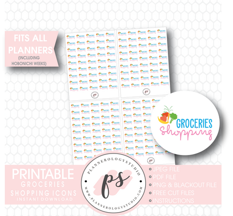 Groceries Shopping Icons Digital Printable Planner Stickers Digital Printable Planner Stickers - Plannerologystudio