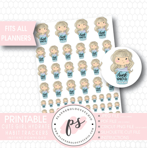 Cute Girl Hydrate Water Habit Tracker Printable Planner Stickers - Plannerologystudio