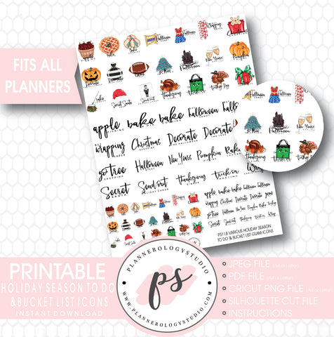 Holiday Season (Christmas, Halloween, Thanksgiving) To Do & Bucket List Icons Printable Planner Stickers - Plannerologystudio