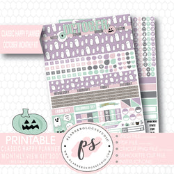 """Boo"" October 2017 Halloween Monthly View Kit Printable Planner Stickers (for use with Mambi Classic Happy Planner) - Plannerologystudio"