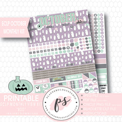 """Boo"" October 2017 Halloween Monthly View Kit Printable Planner Stickers (for use with ECLP) - Plannerologystudio"