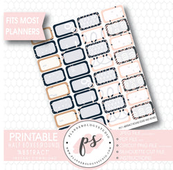 """Abstract"" Half-Box (Round Edge) Printable Planner Stickers - Plannerologystudio"