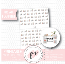 Work From Home Icons Digital Printable Planner Stickers - Plannerologystudio