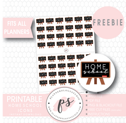 Home School Icons Digital Printable Planner Stickers (Freebie) - Plannerologystudio