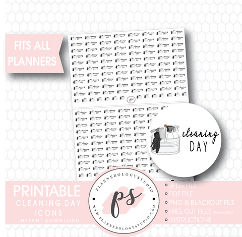 Cleaning Day Icons Digital Printable Planner Stickers - Plannerologystudio