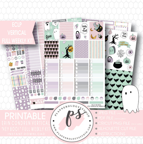 Hey Boo! Full Weekly Kit Printable Planner Stickers (for use with ECLP Vertical) - Plannerologystudio