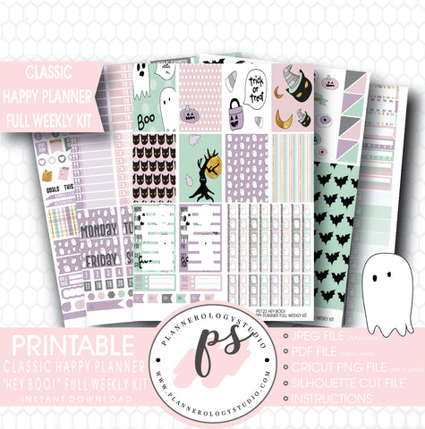 Hey Boo! Full Weekly Kit Printable Planner Stickers (for use with Classic Happy Planner) - Plannerologystudio