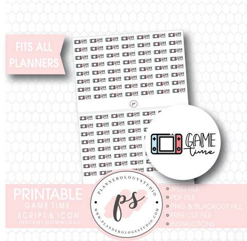 Nintendo Switch Game Time Bujo Script & Icon Digital Printable Planner Stickers - Plannerologystudio