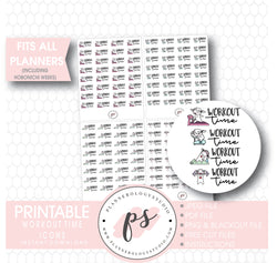 Various Workout Time Script & Icons Digital Printable Planner Stickers - Plannerologystudio