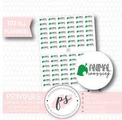 Animal Crossing Bujo Script & Icon Digital Printable Planner Stickers - Plannerologystudio