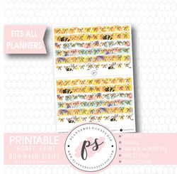 Honey Pattern Bow Icon Washi Strip Digital Printable Planner Stickers - Plannerologystudio