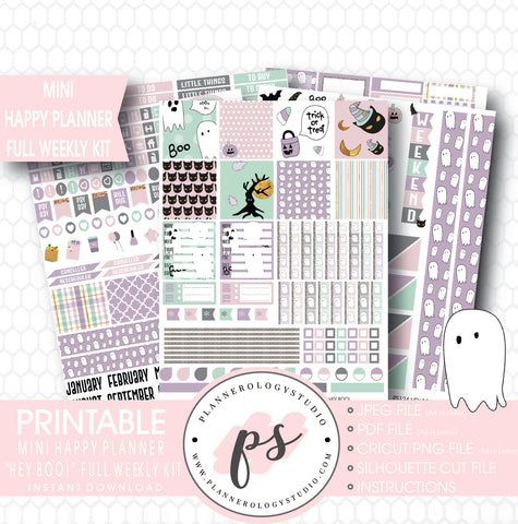 Hey Boo! Full Weekly Kit Printable Planner Stickers (for use with Mini Happy Planner) - Plannerologystudio
