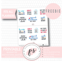 Quarantine Motivational Quotes Digital Printable Planner Stickers (Freebie) - Plannerologystudio