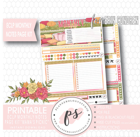 Mama's Picnic (Mother's Day) Monthly Notes Page Kit Digital Printable Planner Stickers (for use with ECLP) - Plannerologystudio