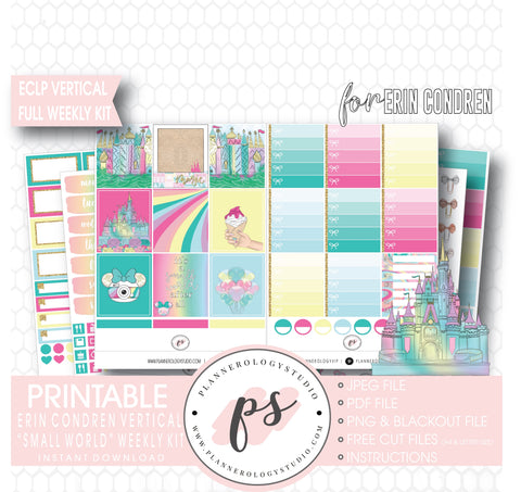 Small World (Disney Inspired) Full Weekly Kit Printable Planner Digital Stickers (for use with Erin Condren Vertical) - Plannerologystudio