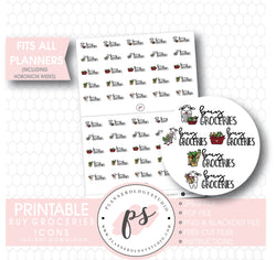 Various Buy Groceries Script & Icons Digital Printable Planner Stickers - Plannerologystudio