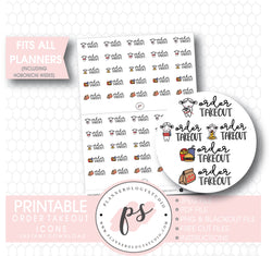 Various Takeout Script & Icons Digital Printable Planner Stickers - Plannerologystudio