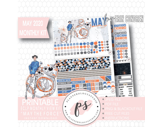 May the Force (Star Wars) May 2020 Monthly View Kit Digital Printable Planner Stickers (for use with Erin Condren) - Plannerologystudio