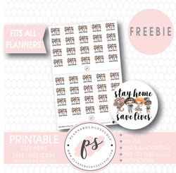 Stay Home Save Lives Icons Digital Printable Planner Stickers (Freebie) - Plannerologystudio