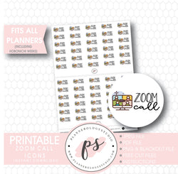Zoom Call Bujo Script & Icon Digital Printable Planner Stickers - Plannerologystudio