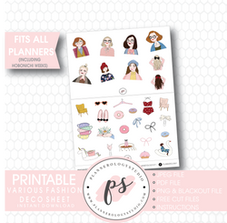 Fashion Girls Clipart Deco Sheet Digital Printable Planner Stickers - Plannerologystudio