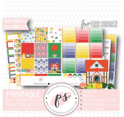 Animal Town (Animal Crossing Inspired) Full Weekly Kit Printable Planner Digital Stickers (for use with Erin Condren Vertical) - Plannerologystudio