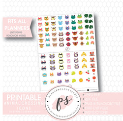 Animal Crossing Icons Digital Printable Planner Stickers - Plannerologystudio