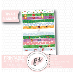 Animal Crossing Washi Strip Digital Printable Planner Stickers - Plannerologystudio