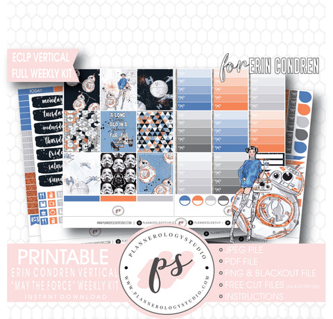 May the Force (Star Wars Inspired) Full Weekly Kit Printable Planner Digital Stickers (for use with Erin Condren Vertical) - Plannerologystudio