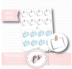 Bujo Style Decorative Memo Notes Digital Printable Planner Stickers - Plannerologystudio