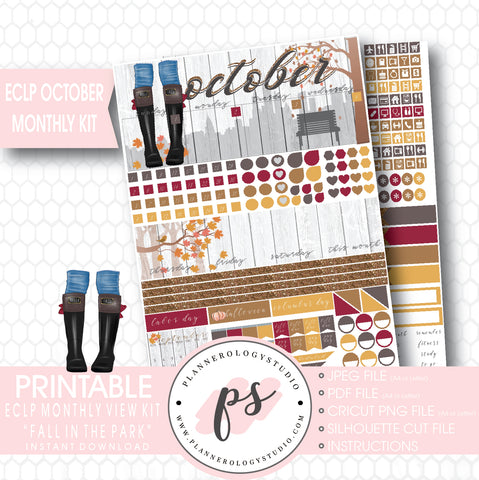 """Fall in the Park"" October 2017 Monthly View Kit Printable Planner Stickers (for use with ECLP) - Plannerologystudio"