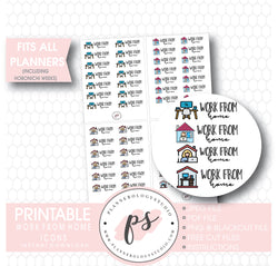 Work From Home Bujo Script & Icons Digital Printable Planner Stickers - Plannerologystudio